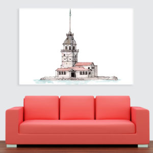 Canvas Painting – Maiden Tower Illustration Art Wall Painting for Living Room, Bedroom, Office, Hotels, Drawing Room (91cm X 61cm)