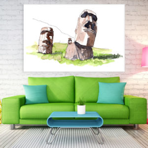 Canvas Painting – Moai Statues Illustration Art Wall Painting for Living Room, Bedroom, Office, Hotels, Drawing Room (91cm X 61cm)