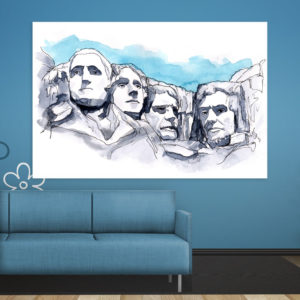Canvas Painting – Mount Rushmore Illustration Art Wall Painting for Living Room, Bedroom, Office, Hotels, Drawing Room (91cm X 61cm)