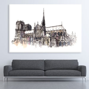 Canvas Painting – Notre-Dame Cathedral Illustration Art Wall Painting for Living Room, Bedroom, Office, Hotels, Drawing Room (91cm X 61cm)