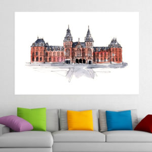 Canvas Painting – Rijks Museum Amsterdam Illustration Art Wall Painting for Living Room, Bedroom, Office, Hotels, Drawing Room (91cm X 61cm)
