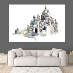 Canvas Painting – Sacre Coeur Paris Illustration Art Wall Painting for Living Room, Bedroom, Office, Hotels, Drawing Room (91cm X 61cm)
