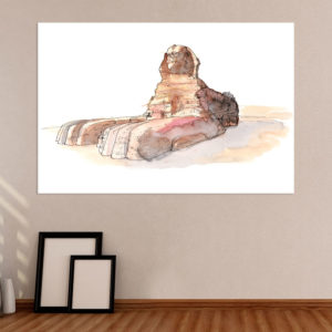 Canvas Painting – Great Sphinx of Giza Illustration Art Wall Painting for Living Room, Bedroom, Office, Hotels, Drawing Room (91cm X 61cm)