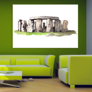 Canvas Painting – Stonehenge Illustration Art Wall Painting for Living Room, Bedroom, Office, Hotels, Drawing Room (91cm X 61cm)