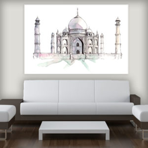 Canvas Painting – Taj Mahal Agra Illustration Art Wall Painting for Living Room, Bedroom, Office, Hotels, Drawing Room (91cm X 61cm)