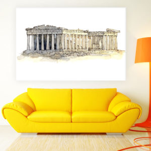 Canvas Painting – The Acropolis of Athens Illustration Art Wall Painting for Living Room, Bedroom, Office, Hotels, Drawing Room (91cm X 61cm)