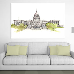Canvas Painting – United States Capitol Complex Illustration Art Wall Painting for Living Room, Bedroom, Office, Hotels, Drawing Room (91cm X 61cm)