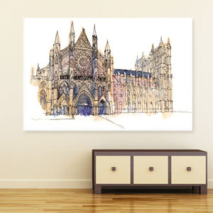 Canvas Painting – Westminster Abbey London Illustration Art Wall Painting for Living Room, Bedroom, Office, Hotels, Drawing Room (91cm X 61cm)