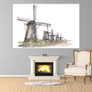 Canvas Painting – Windmills Illustration Art Wall Painting for Living Room, Bedroom, Office, Hotels, Drawing Room (91cm X 61cm)