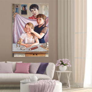 Canvas Painting – Beautiful Siblings Art Wall Painting for Living Room, Bedroom, Office, Hotels, Drawing Room (61cm X 91cm)