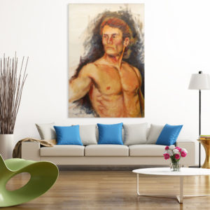 Canvas Painting – Body Builder Self Portrait Art Wall Painting for Living Room, Bedroom, Office, Hotels, Drawing Room (61cm X 91cm)