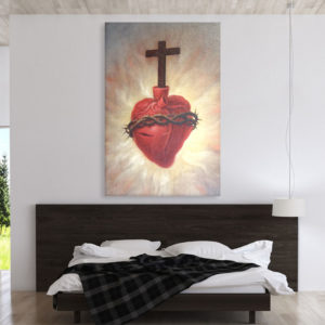 Canvas Painting – Beautiful Sacred Heart Jesus Art Wall Painting for Living Room, Bedroom, Office, Hotels, Drawing Room (61cm X 91cm)