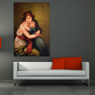 Canvas Painting - Beautiful Mother Daughter Self Portrait Art Wall Painting for Living Room