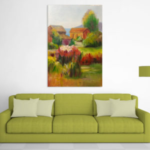 Canvas Painting – Beautiful Village Scene Art Wall Painting for Living Room, Bedroom, Office, Hotels, Drawing Room (61cm X 91cm)