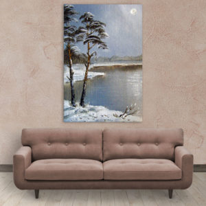 Canvas Painting – Beautiful Lake In Winters Art Wall Painting for Living Room, Bedroom, Office, Hotels, Drawing Room (61cm X 91cm)