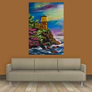 Canvas Painting – Beautiful Lake Shore Art Wall Painting for Living Room, Bedroom, Office, Hotels, Drawing Room (61cm X 91cm)