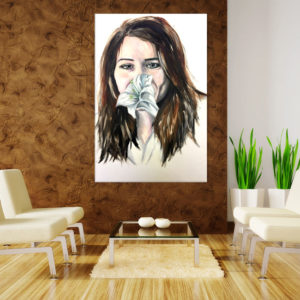 Canvas Painting – Beautiful Lady with Flower Art Wall Painting for Living Room, Bedroom, Office, Hotels, Drawing Room (61cm X 91cm)
