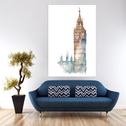 Canvas Painting - Beautiful Big Ben London Illustration Art Wall Painting for Living Room
