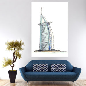 Canvas Painting – Burj Al Arab Dubai Illustration Art Wall Painting for Living Room, Bedroom, Office, Hotels, Drawing Room (61cm X 91cm)