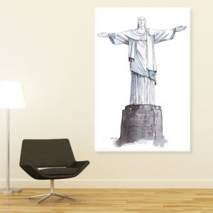 Canvas Painting – Christ The Redemmer Statue Brazil Illustration Art Wall Painting for Living Room, Bedroom, Office, Hotels, Drawing Room (61cm X 91cm)