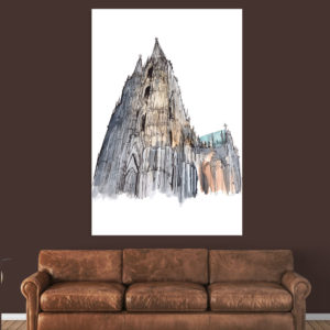 Canvas Painting – Cologne Cathedral Illustration  Art Wall Painting for Living Room, Bedroom, Office, Hotels, Drawing Room (61cm X 91cm)