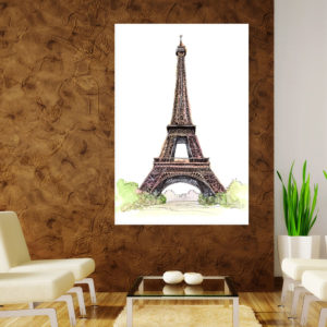 Canvas Painting – Eiffel Tower Paris Illustration Art Wall Painting for Living Room, Bedroom, Office, Hotels, Drawing Room (61cm X 91cm)