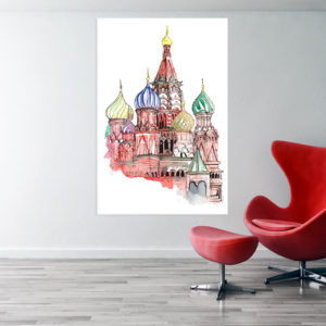 Canvas Painting – Kremlin Palace Illustration Art Wall Painting for Living Room, Bedroom, Office, Hotels, Drawing Room (61cm X 91cm)