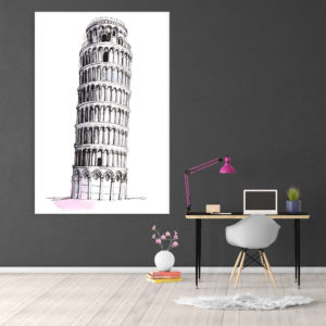 Canvas Painting – Leaning Tower of Pisa Illustration Art Wall Painting for Living Room, Bedroom, Office, Hotels, Drawing Room (61cm X 91cm)