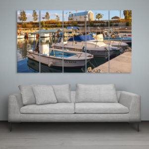 Multiple Frames Beautiful Boats Wall Painting for Living Room, Bedroom, Office, Hotels, Drawing Room (150cm x 76cm)