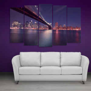 Multiple Frames Beautiful Brooklyn Bridge Wall Painting for Living Room, Bedroom, Office, Hotels, Drawing Room (150cm x 76cm)