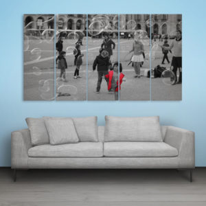 Multiple Frames Beautiful Bubbles Wall Painting for Living Room, Bedroom, Office, Hotels, Drawing Room (150cm x 76cm)