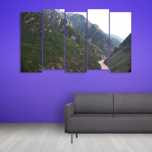 Multiple Frames Beautiful Hills Wall Painting for Living Room, Bedroom, Office, Hotels, Drawing Room (150cm x 76cm)