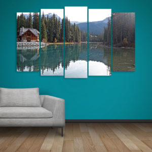 Multiple Frames Beautiful Lake Wall Painting for Living Room, Bedroom, Office, Hotels, Drawing Room (150cm x 76cm)