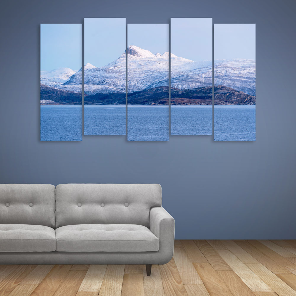 Multiple Frames Beautiful Mountains Wall Painting For Living Room Bedroom Office Hotels Drawing Room 150cm X 76cm