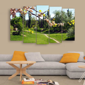 Multiple Frames Beautiful Garden Wall Painting for Living Room, Bedroom, Office, Hotels, Drawing Room (150cm x 76cm)