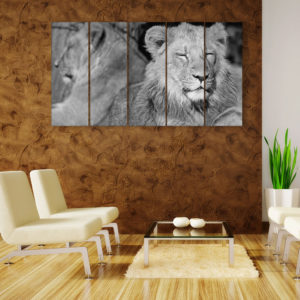Multiple Frames Beautiful Lion Wall Painting for Living Room, Bedroom, Office, Hotels, Drawing Room (150cm x 76cm)