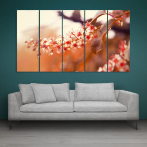Multiple Frames Beautiful Flower Bird Cherry Wall Painting for Living Room, Bedroom, Office, Hotels, Drawing Room (150cm x 76cm)