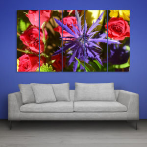 Multiple Frames Beautiful Flowers Wall Painting for Living Room, Bedroom, Office, Hotels, Drawing Room (150cm x 76cm)