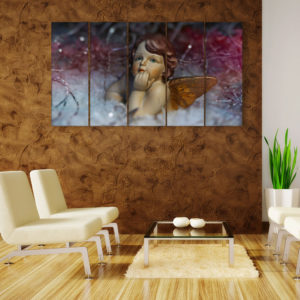 Multiple Frames Beautiful Angel Wall Painting for Living Room, Bedroom, Office, Hotels, Drawing Room (150cm x 76cm)