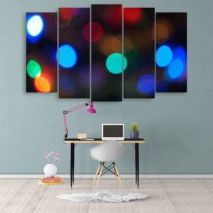 Multiple Frames Beautiful Bokeh Light Wall Painting for Living Room, Bedroom, Office, Hotels, Drawing Room (150cm x 76cm)