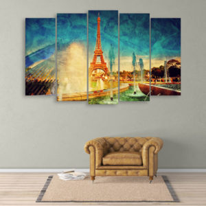 Multiple Frames Beautiful Eiffel Tower Wall Painting for Living Room, Bedroom, Office, Hotels, Drawing Room (150cm x 76cm)