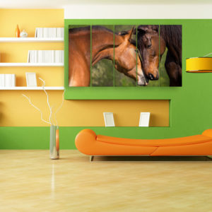 Multiple Frames Beautiful Horses Wall Painting for Living Room, Bedroom, Office, Hotels, Drawing Room (150cm x 76cm)