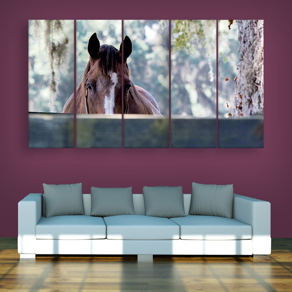 Multiple Frames Beautiful Horse Wall Painting For Living Room Bedroom Office Hotels Drawing Room 150cm X 76cm