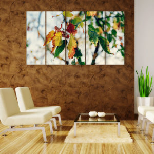 Multiple Frames Beautiful Leafs Wall Painting for Living Room, Bedroom, Office, Hotels, Drawing Room (150cm x 76cm)