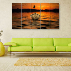 Multiple Frames Beautiful Boat Wall Painting for Living Room, Bedroom, Office, Hotels, Drawing Room (150cm x 76cm)