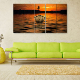 Multiple Frames Beautiful Boat Wall Painting for Living Room