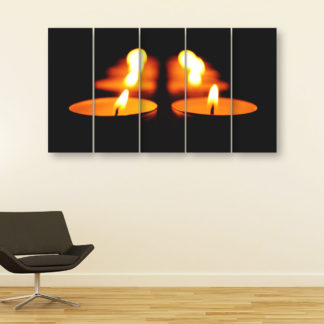 Multiple Frames Beautiful Candles Wall Painting for Living Room