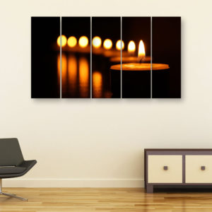 Multiple Frames Beautiful Candles Wall Painting for Living Room, Bedroom, Office, Hotels, Drawing Room (150cm x 76cm)