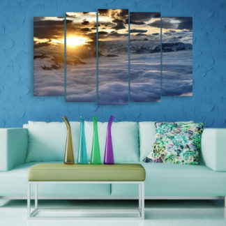Multiple Frames Beautiful Clouds Wall Painting for Living Room