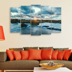 Multiple Frames Beautiful Clouds Wall Painting for Living Room, Bedroom, Office, Hotels, Drawing Room (150cm x 76cm)